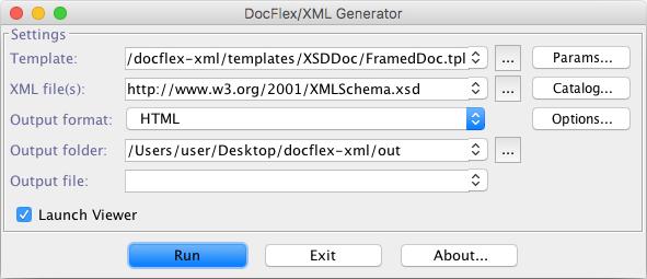 FlexDoc/XML - XSDDoc - FAQ - Running XSDDoc